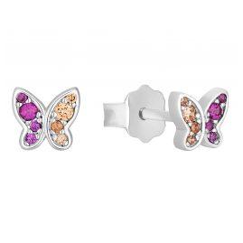 s.Oliver 2031532 Kinder-Ohrstecker Silber Schmetterling Rosa