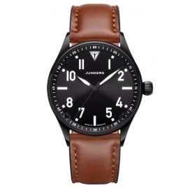 Junkers 9.03.01.02 Men's Wristwatch with Leather Strap Flieger Black / Brown
