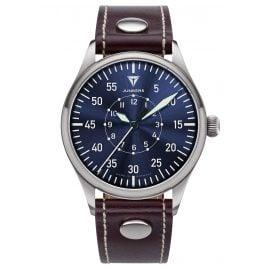 Junkers 9.20.02.01 Herrenuhr Baumuster A Lederband Braun / Blau