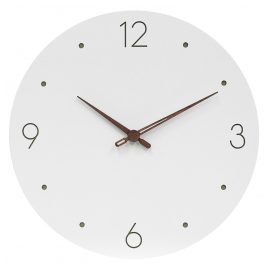 trendor 75857 Wall Clock Round White Ø 29 cm Brown Wooden Hands