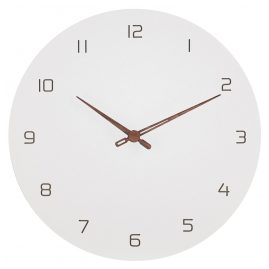 trendor 75858 Wall Clock White with Numbers Ø 29 cm Brown Wooden Hands