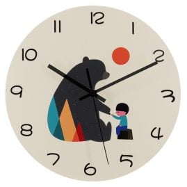 trendor 75870 Children's Wall Clock Bear with Boy Quartz Ø 30 cm