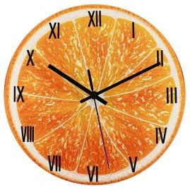 trendor 75873 Wall Clock Orange Ø 30 cm Quartz without Ticking