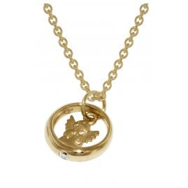 trendor 72931 Gold Pendant Christening Ring with Angel on Gold-Plated Necklace