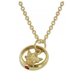 trendor 73464 Gold Christening Ring Pendant with Gold Plated Necklace