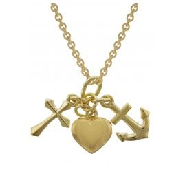 trendor 35733 Gold Pendant Faith, Love, Hope with 42 cm Necklace