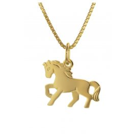 trendor 35736 Kids Gold Pendant Horse on 40 cm Gold-Plated Necklace
