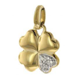 trendor 08723 Anhänger Kleeblatt 333 Gold Zirkonia 16 mm