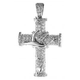 trendor 08837 Cross Pendant White Gold 585 Cubic Zirconia