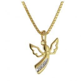 trendor 08840 Engel-Anhänger Gold 585 mit 3 Diamanten an goldplattierter Kette