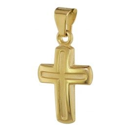 trendor 75369 Children's Cross Pendant 12 mm Gold 585 / 14 Carat