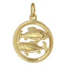 trendor 39000-03 Sternzeichen Fische 333 Gold Anhänger Ø 16 mm