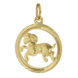 trendor 39000-04 Zodiac Sign Aries Pendant 333 Gold Ø 16 mm