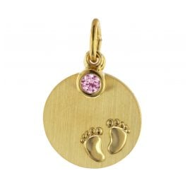 trendor 51102 Children's Engraving Pendant Baby Feet Pink 333 / 8K Gold