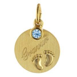 trendor 51103 Kinder Gravur-Anhänger Babyfüße mit Einhänger Blau 333 / 8K Gold