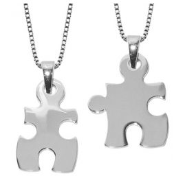 trendor 63782 Large Puzzle Partner Pendants with 2 Chains Silver