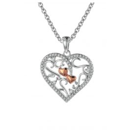 trendor 08812 Heart Pendant with Necklace Silver 925 Two-Tone