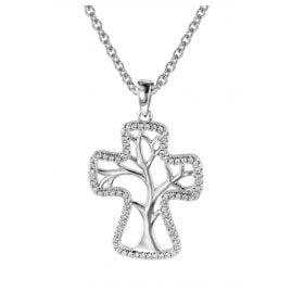 trendor 08821 Necklace and Cross Pendant with Tree of Life Silver 925
