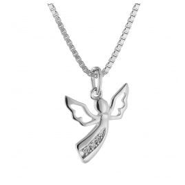 trendor 08843 Angel Pendant White Gold 585 with 3 Diamonds on Silver Necklace