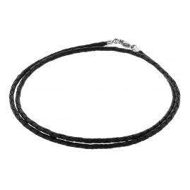 trendor 75002 Braided Leather Necklace For Men Leather Black + Silver 925