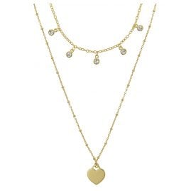 trendor 75065 Necklace for Women 925 Silver Gold-Plated Double-Row