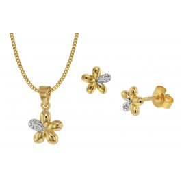 trendor 75109 Children's Jewellery Set Flower 333 Gold/8 Carat