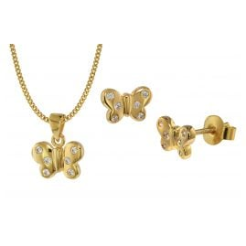trendor 75110 Butterfly Kids Jewellery Set Gold 333 (8 Carat)