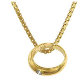 trendor 75121 Christening Ring Gold 585 on Plated Necklace 42/40 cm