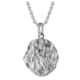 trendor 75210 St. Christopher Pendant 333 White Gold 8 ct with Silver Necklace