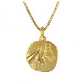 trendor 75322 Pendant Horses Gold 333 (8 ct.) with Gold Plated Silver Necklace