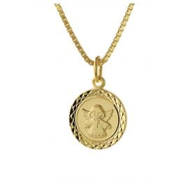 trendor 75323 Angel Pendant for Kids Gold 585 (14 ct.) Gold Plated Necklace