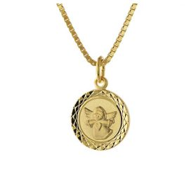 trendor 75324 Angel Pendant for Kids Gold 585 (14 ct.) Gold Plated Necklace
