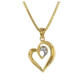 trendor 75404 Heart Pendant Gold 585/14 K with Gold Plated Necklace
