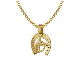 trendor 75408 Horseshoe Pendant Gold 585 / 14K with Gold Plated Necklace