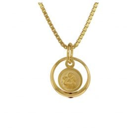 trendor 75398 Christening Ring Angel Gold 585/14K with Gold Plated Necklace