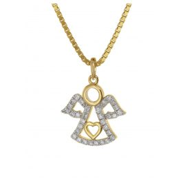 trendor 75472 Angel Pendant Diamonds Gold 585 / 14K on Gold Plated Necklace
