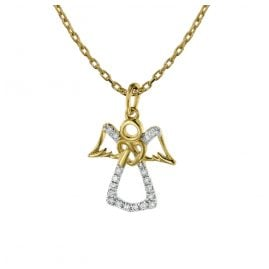 trendor 75477 Angel Pendant Necklace 18 Diamonds Gold 585 /14 K