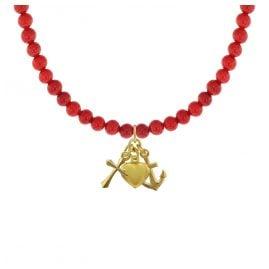 trendor 75533 Halskette für Mädchen Bambuskoralle Rot mit Gold-Anhänger