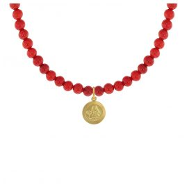 trendor 75534 Girls Necklace Bamboo Coral Red with Angel Pendant Gold 333