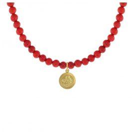 trendor 75534 Mädchen-Halskette Bambuskoralle Rot mit Engel-Anhänger Gold 333