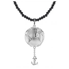 trendor 75497 Planet Earth Pendant Silver 925 + Spinel Necklace Black