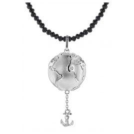 trendor 75497 Anhänger Planet Erde Silber 925 + Spinell-Kette Schwarz