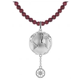 trendor 75501 Planet Earth Pendant Silver 925 + Garnet Necklace