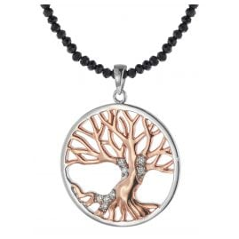 trendor 75515 Tree of Life Pendant Silver 925 + Spinel Black Necklace