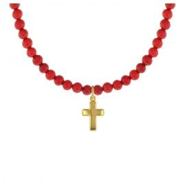 trendor 75557 Girl's Necklace Bamboo Coral Red with Gold Cross 333