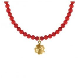 trendor 75608 Girls Necklace Red Bamboo Coral with Four-Leaf Clover Gold 333