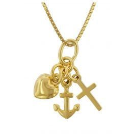 trendor 75625 Children's Necklace with Pendant Faith-Love-Hope Gold 333