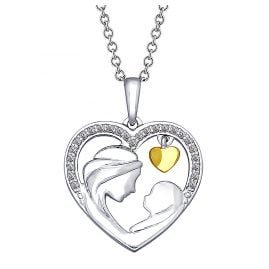 trendor 75686 Silver Necklace With Heart Mom and Baby