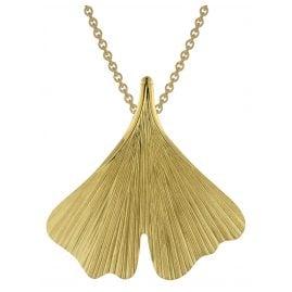 trendor 75717 Damen-Halskette mit Gingko-Blatt Anhänger Gold auf Silber