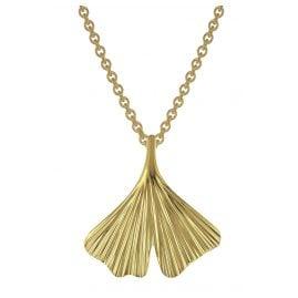 trendor 75720 Damen-Halskette mit Gingko-Anhänger Gold auf Silber